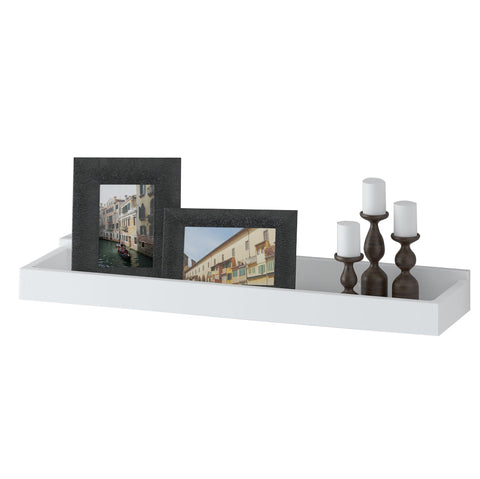 "PHILLY Floating Shelves Wall Bookshelf and Picture Ledge – 23.6"" Length – White - Wallniture"