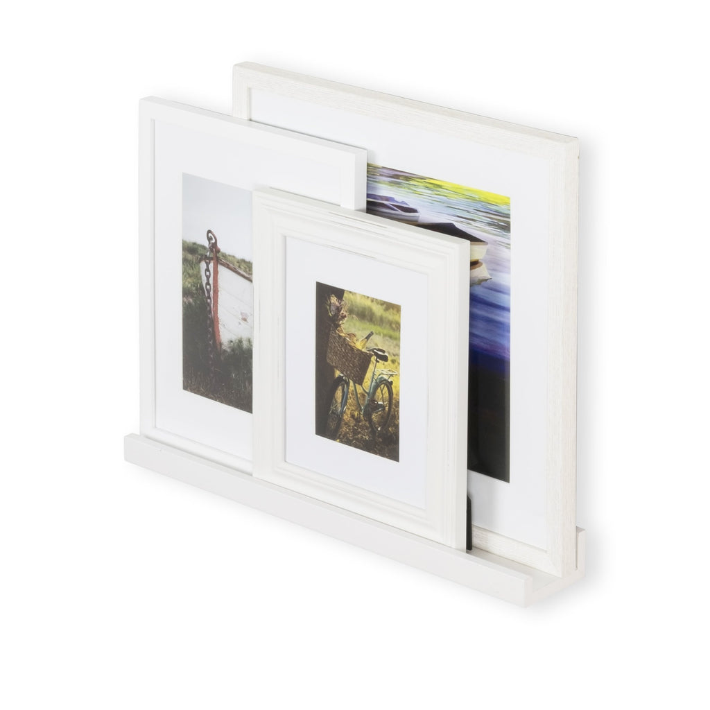 Photo frame on shelf; by DENVER Laminated white shelf by Wallniture.