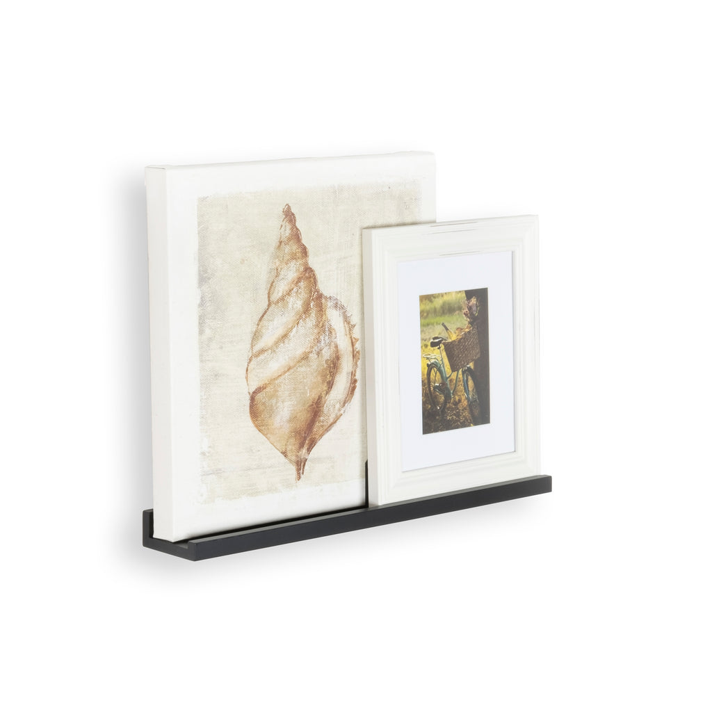 Photo frame on shelf; by DENVER Laminated black shelf by Wallniture.