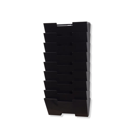 LISBON Wall Mounted File and Magazine Holder - 10 Sectional - Black, White, Gray - Wallniture