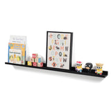"DENVER Picture Ledge Shelf and Wall Shelf  – 46"" Length – White, Black"