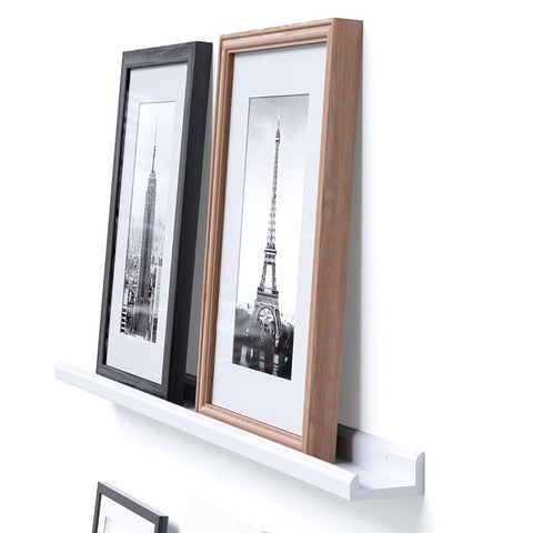 "BOSTON Picture Ledge Wall Shelf and Bookshelf – 46"" Length - White, Black - Wallniture"