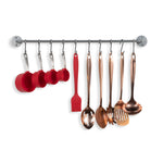 "CUCINA Rail and Hook – 24"" Rail with 10 Hooks – Silver, Black - Wallniture"
