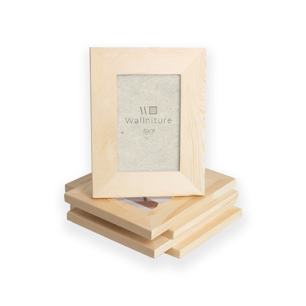"WOODLOGAN Unpainted Wooden Picture Frame - Set of 5 - 5"" x 7"""