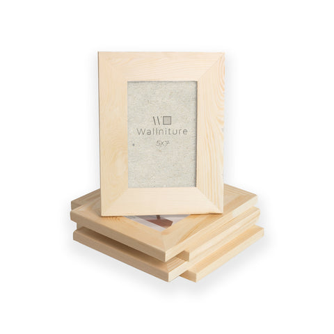 "WOODLOGAN Unpainted Wooden Picture Frame - Set of 5 - 5"" x 7"" - Wallniture"