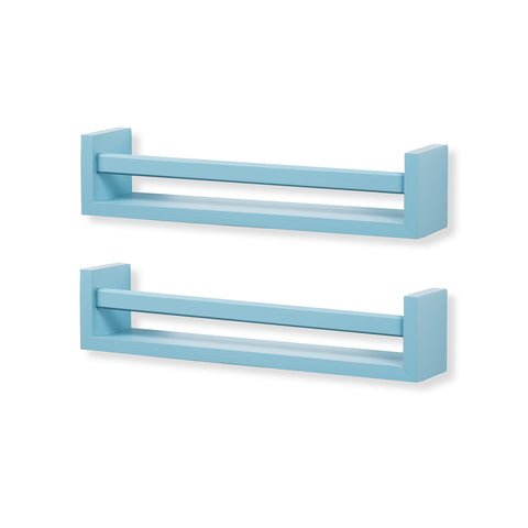 UTAH Wooden Wall Shelf – Set of 2 – Blue - Wallniture