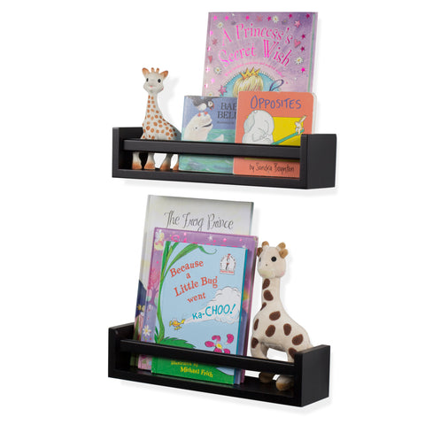 "UTAH Floating Shelves Wall Bookshelf and Nursery Decor – 15.75"" Length –  Set of 2 – Black - Wallniture"