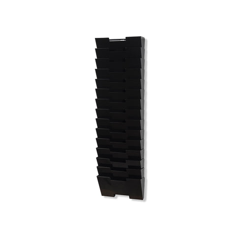 LISBON Wall File Magazine Holder - 15 Tier - Black, White, Gray - Wallniture