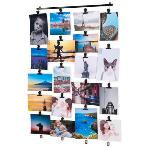 CORDONE 4 Wire Hanging Collage Picture Display with 20 Clips – Black - Wallniture