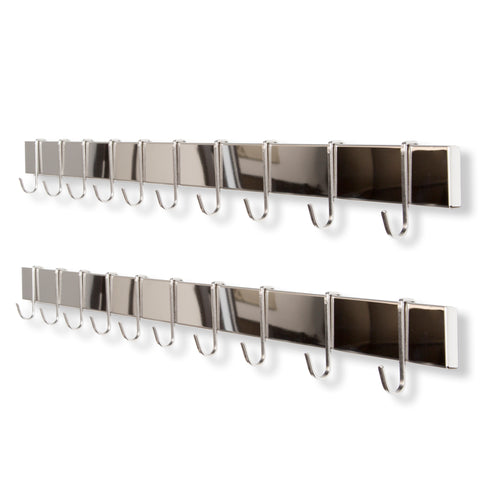 "VOLKAN Rail and Hook – 30"" Rail with 10 Hooks Each – Set of 2 – Silver - wallniture"