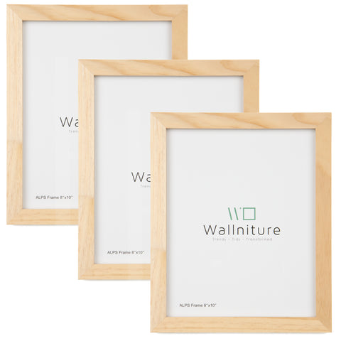"WOODALPS 8"" x 10"" Wooden Picture Frame - Set of 3 - Natural - Wallniture"