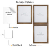 "WOODALPS 8"" x 10"" Wooden Picture Frame - Set of 3 - Walnut - Wallniture"