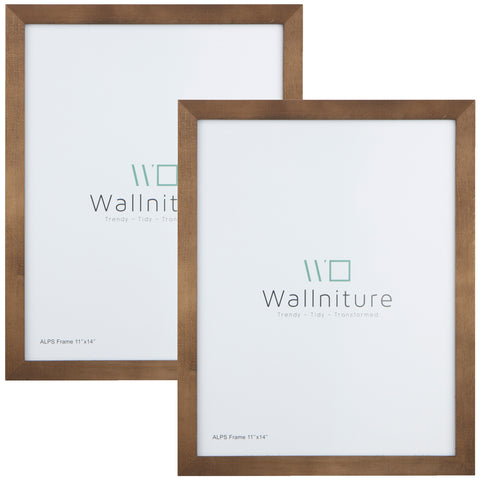 "WOODALPS 11"" x 14"" Wooden Picture Frame - Set of 2 - Walnut - Wallniture"