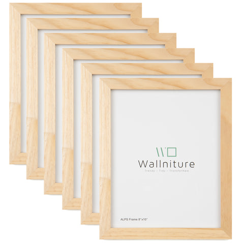 "WOODALPS Wooden Picture Frames, 8"" x 10"" Picture Frame Set – 6 Pieces – Unpainted - Wallniture"