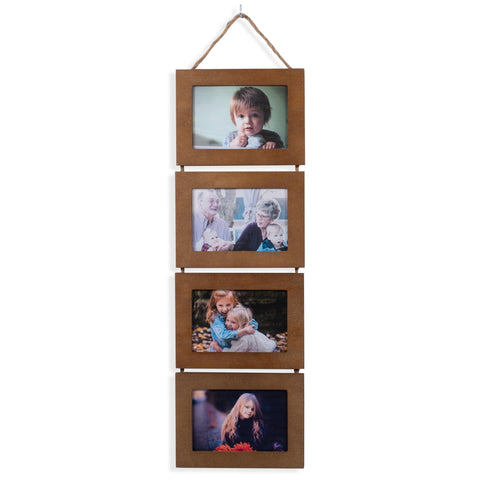 "WOODARIES Hanging Collage Picture Frame - 4"" x 6"" Photos - Walnut - Wallniture"