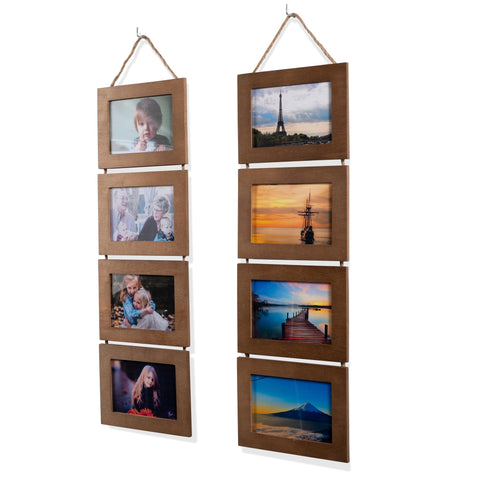 "WOODARIES Collage Frame - 4"" x 6"" Display - Walnut - Set of 2"