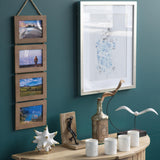 "WOODARIES Hanging Collage Picture Frame - 4"" x 6"" Photos - Walnut - Set of 2 - Wallniture"