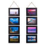 "WOODARIES Hanging Collage Picture Frame - 4"" x 6"" Photos - Black - Set of 2 - Wallniture"