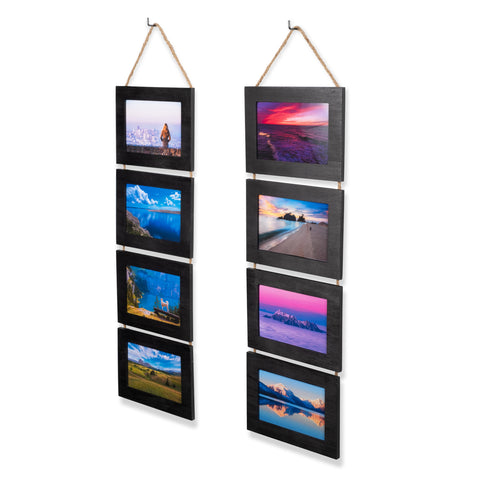 "WOODARIES Collage Frame - 4"" x 6"" Display - Black - Set of 2"