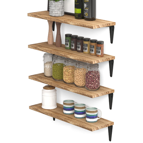 "ARRAS 17"" Kitchen Floating Shelves and Spice Rack Wall Mount – Set of 4 – Natural Burned - Wallniture"