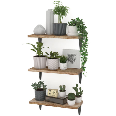 "ARRAS 14"" x 6"" Rustic Floating Shelves and Wall Bookshelf for Living Room Decor - Set of 2 - Wallniture"