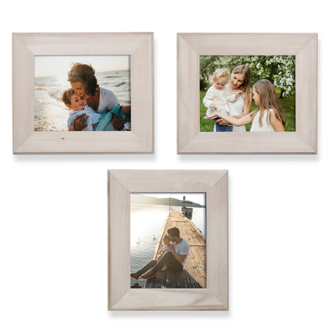 "WOODATHENA 8"" x 10"" Unpainted Wooden Picture Frames - Set of 3 - wallniture"