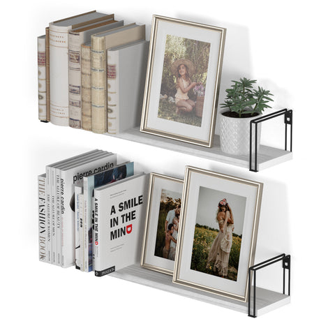 "AVILA Floating Shelves and Wall Bookshelf – 17"" Length – Set of 2 – White"