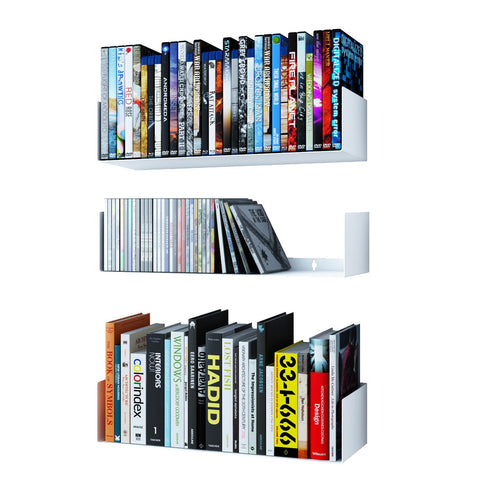 "BALI U Shape Floating Shelves Wall Bookshelf Metal – 17"" Length – Set of 3 – White, Black - Wallniture"
