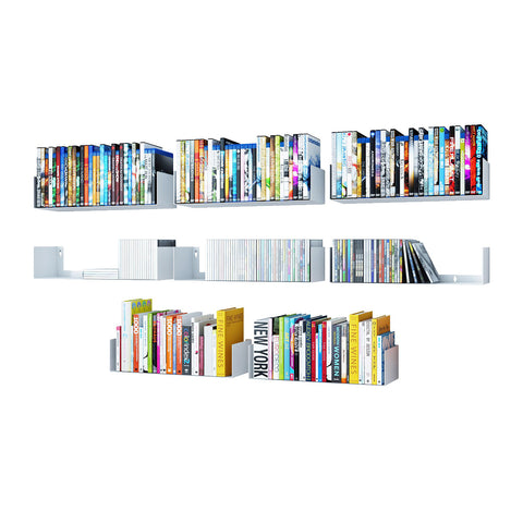 "BALI Floating Shelves Wall Bookshelf – 17"" Length – Set of 8 – White - Wallniture"