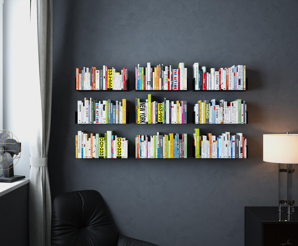 bali floating shelf and wall bookshelf 17 length white black