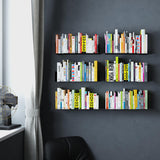 "BALI Floating Shelves Wall Bookshelf  – 17"" Length – Set of 3 – White, Black"