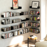 BALI Floating Shelves Wall Bookshelf and Picture Ledge – Set of 2 – White, Black