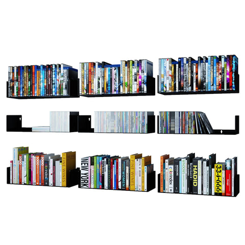 "BALI U Shape Floating Shelves and Wall Bookshelf Metal – 17"" Length – Set of 9 – Black, White - Wallniture"