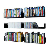 "BALI Floating Shelves Wall Bookshelf – 17"" Length – Set of 6 – White, Black"