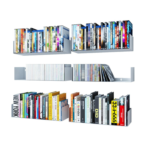 "BALI U Shape Floating Shelves Wall Bookshelf Metal – 17"" Length – Set of 6 – White, Black"