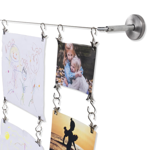 BARRE Wire Picture Hanging Kit for Nursery Decor with 24 Picture Hangers - Set of 2 - Stainless Steel - Wallniture