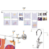 BARRE Wire Picture Hanging Kit for Nursery Decor with Picture Hangers - 24 or 48 Hanging Clips - Stainless Steel - Wallniture