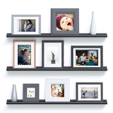 "BOSTON Picture Ledge Wall Shelf and Bookshelf – 46"" Length – Set of 3 – Black - Wallniture"