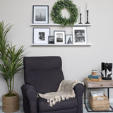 "BOSTON Picture Ledge Wall Shelf and Bookshelf – 46"" Length - White, Black"