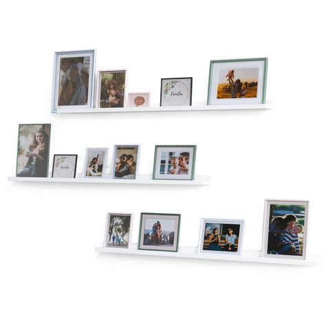 "BOSTON Picture Ledge Wall Shelf and Bookshelf – 46"" Length - Set of 3 - White - Wallniture"