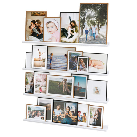 "BOSTON Picture Ledge Floating Shelves and Wall Bookshelf – 46"" Length – Set of 4 - White - Wallniture"