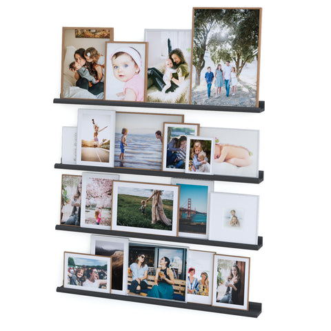 "BOSTON Floating Shelves Wall Bookshelf and Picture Ledge - 46"" Length - Set of 4 - Black - Wallniture"
