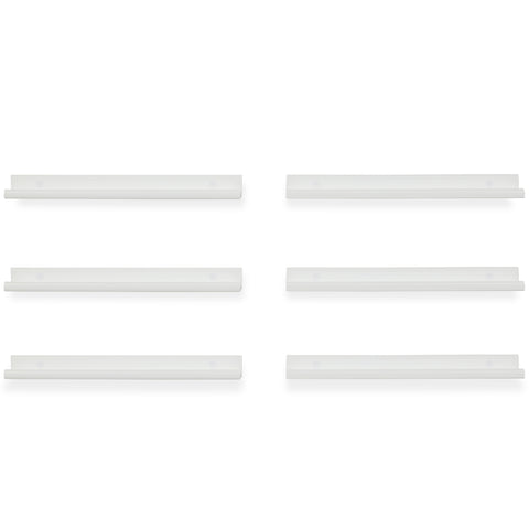 "BOSTON Picture Ledge Floating Shelves and Wall Bookshelf – 22"" Length – Set of 6 - White - Wallniture"