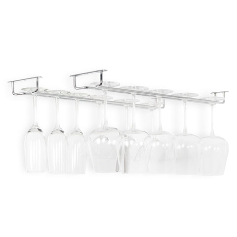 "BRIX  Under Cabinet Wine Glass Rack  – 24"" Depth – Set of 2 – Chrome , Black - Wallniture"