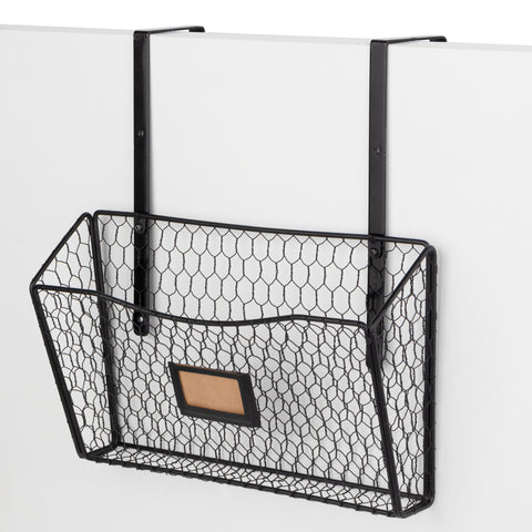 BUROFELIC Wire Basket Cubicle Hanger File Organizer  - Black - Wallniture
