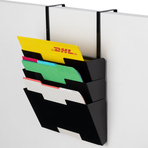 BUROLISBON Cubicle Magazine File Holder, 3 Sectional, Black