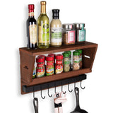 CARMEL Wall Mount Entryway and Kitchen Organizer Shelf - Walnut - Wallniture