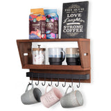 "CARMEL Kitchen Floating Shelves and Spice Rack with Hooks for Hanging- 16.6"" Length - Walnut - Wallniture"