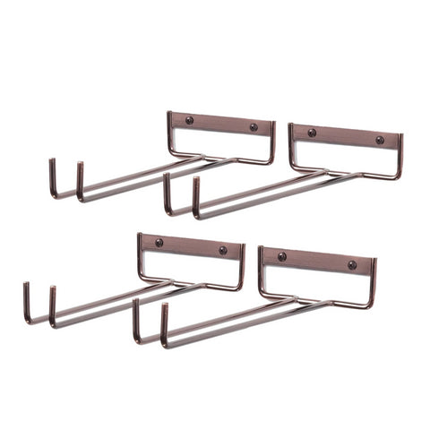 "CHIRAZ Stemware  Wall Mounted Rack – 11"" Depth – Set of 4 – Oil Rubbed - wallniture"