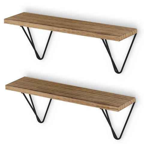 "COLMAR Floating Shelves and Wall Bookshelf – 17"" Length – Set of 2, or 3 – Natural Burned with Black Brackets - Wallniture"